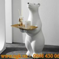 bàn composite decor hình chú gấu Bắc cực