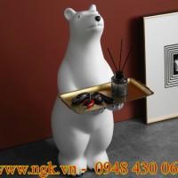 Bàn decor hình chú gấu Bắc cực cao cấp
