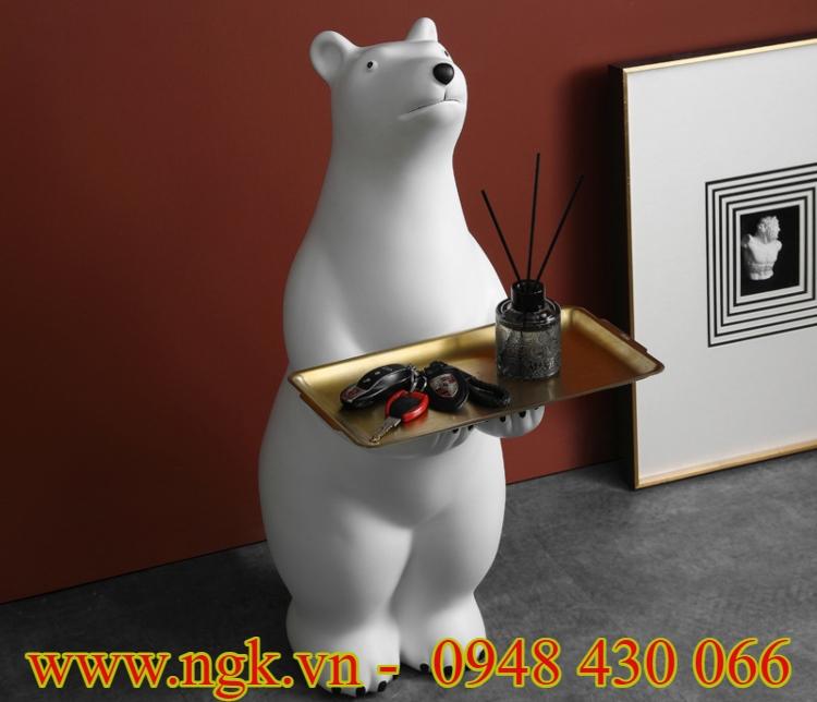 bàn decor hình chú gấu Bắc cực composite cao cấp